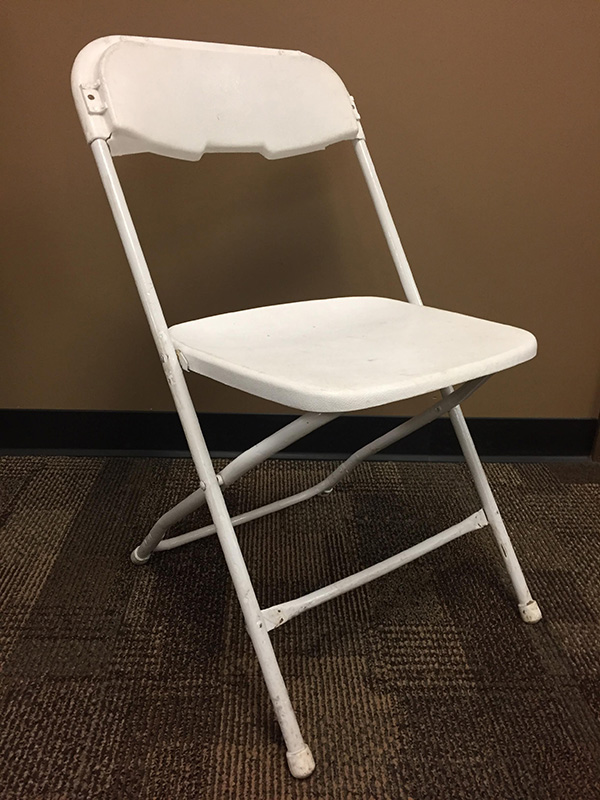 Used Bright White Folding Chair