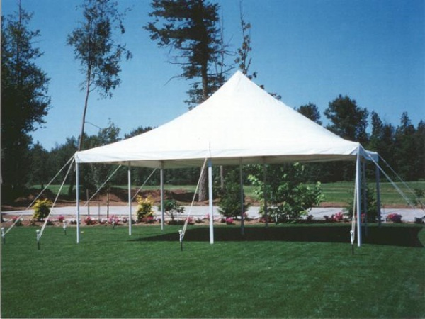 20 x 20 White Stake and Pole Tent
