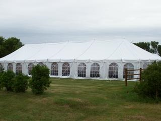 30 x 90 White Stake and Pole Tent