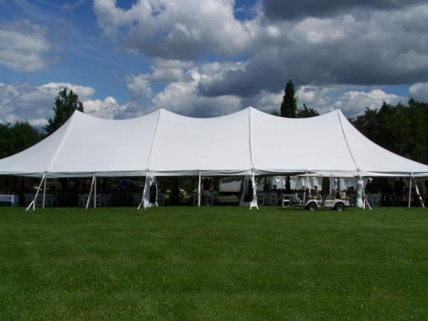 40 x 100 White Stake and Pole Tent