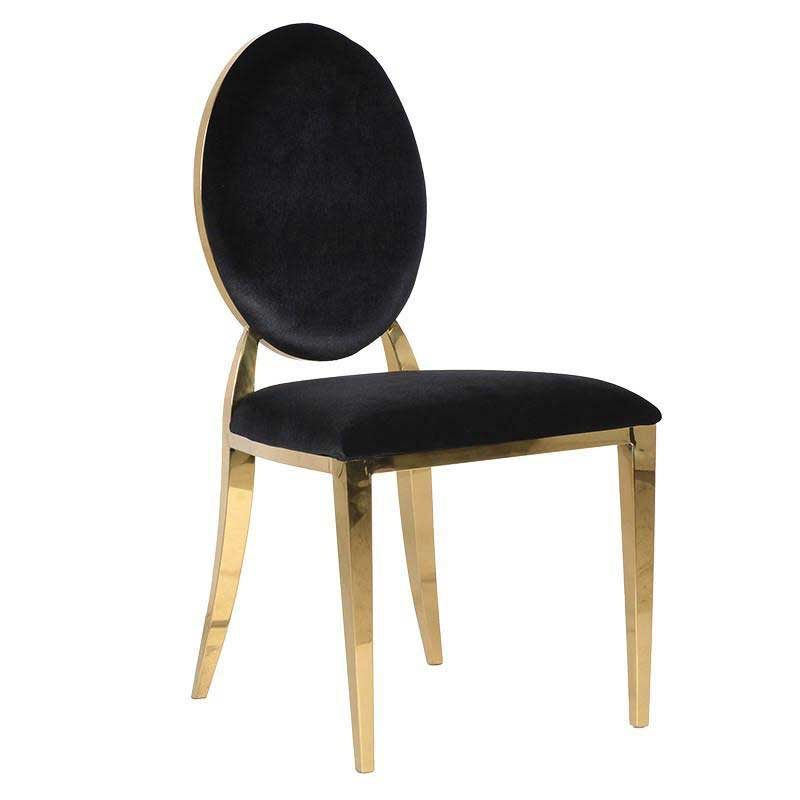 Black & Gold Velour Chair