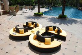 Bronze Rattan Lounge Furniture with Yellow Cushion