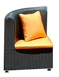 Rattan Rounded Corner Chair (Bronze)