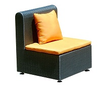 Rattan Straight Armless Chair (Bronze)