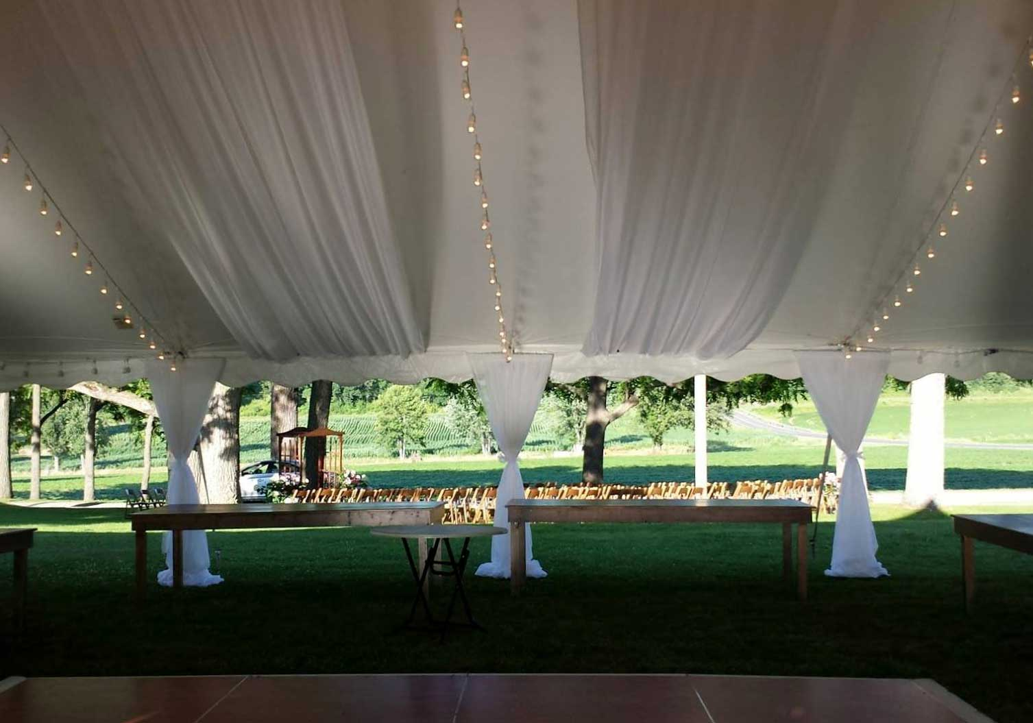 White Voile Sidepole Curtain