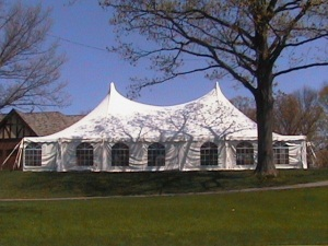 60' x 70' White Stake and Pole Tent