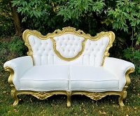 White & Gold Countess Sofa