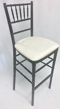 Mahogany Chiavari Bar Stool with Ivory Cushion