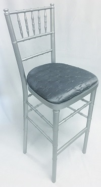 Silver Chiavari Bar Stool with Pewter Cushion