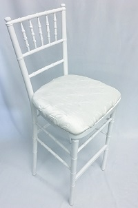 White Chiavari Bar Stool with White Cushion