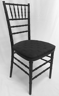 Black Chiavari Chair w/Black Antionette Cushion