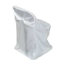 Polyester Folding Chair Cover with Attached White Satin Sash