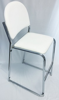 White Bar Stool/Chrome Frame