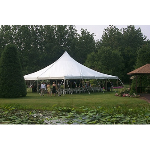 25 x 25 White Stake and Pole Tent