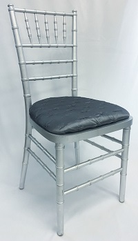 Silver Chiavari Chair w/Pewter Antionette Cushion
