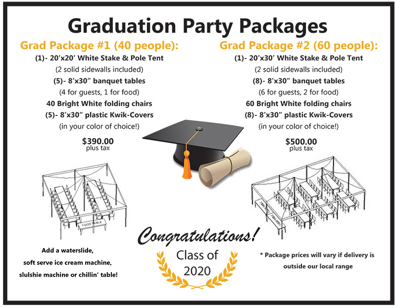 2020 Graduation Party Packages