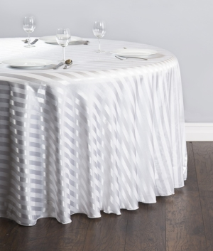 120 in. Round Satin Stripe Linen (White) Rentals