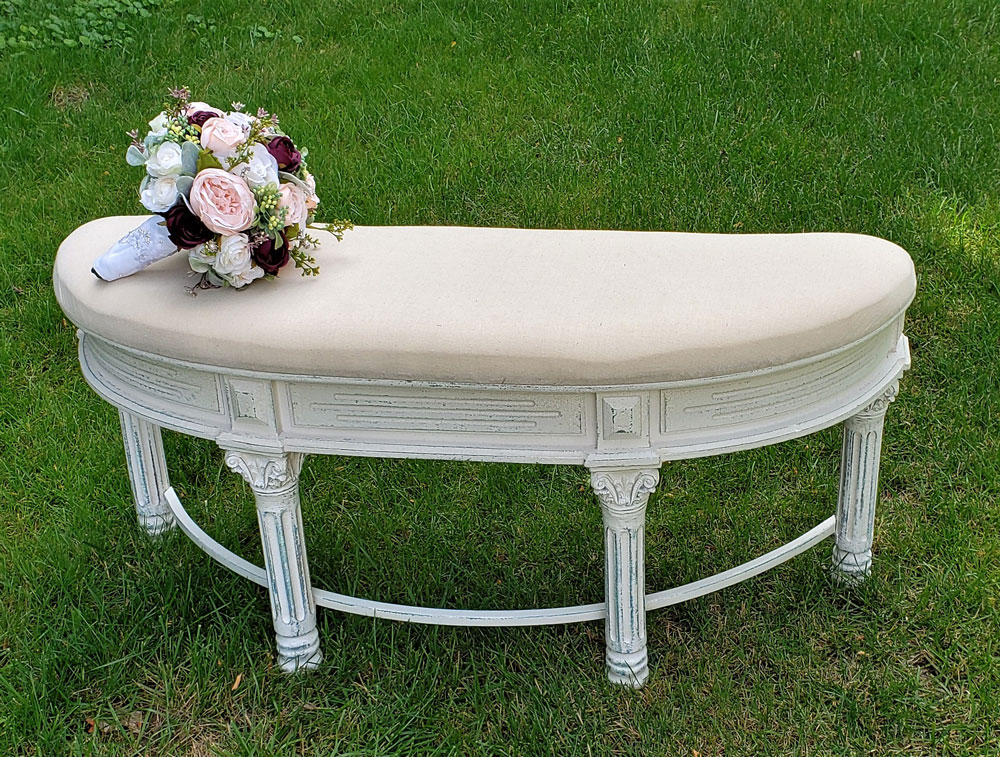 Curved Beige Bench